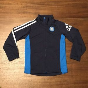 Adidas Soccer Zip up Jacket. Boys Size 5.
